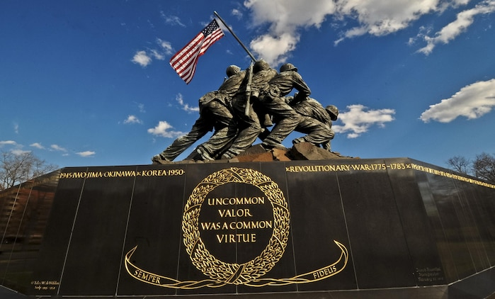 The Marine Corps War Memorial, also called the Iwo Jima Memorial, is a military memorial statue outside the walls of the Arlington National Cemetery, in Arlington, Va. The memorial is dedicated to all personnel of the United States Marine Corps who have died in the defense of their country since 1775.