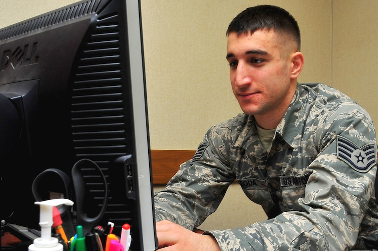 Airman Spotlight: Staff Sgt. Michael Pasqua, 51st Communications Squadron quality assurance evaluator, ensures 51st CS work centers are forming their responsibility of defending the network, at building 949 on Osan Air Base, Republic of Korea Feb. 18 2013.  Pasqua is this weeks Airman Spotlight.  (U.S. Air Force photo/Staff Sgt. Emerson Nuñez)