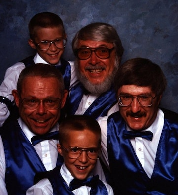 """As a child, Steven Martin (top left) sang with his father's quartet. Now a Staff Sgt. working in Air Mobility Command, Martin sings with a local area quartet called """"Sounds of Harmony"""". (Courtesy photo)"""