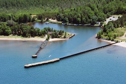 An aerial view of Big Bay Harbor, 33 miles northwest of Marquette, Mich.
