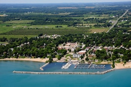An aerial view of Lexington Harbor, Mich.