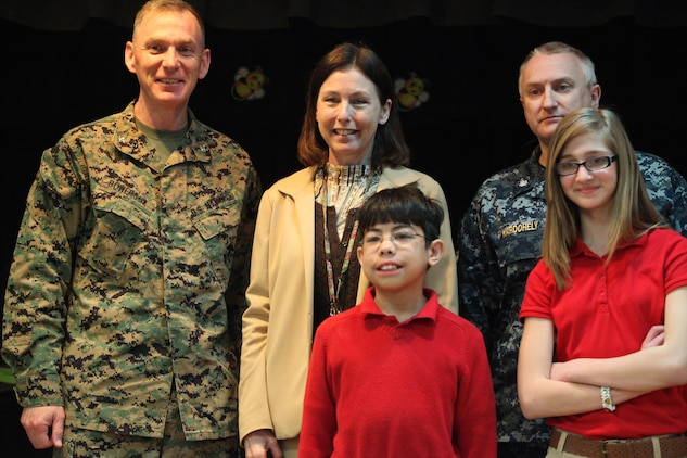 Leadership from throughout the Tri-command was present to congratulate the competitors of the Bolden Elementary/Middle School Spelling Bee, Feb.14. Students, faculty and parents filled the school cafeteria in support of the spellers.