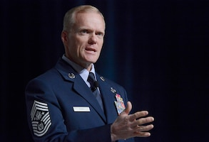 Chief Master Sgt. of the Air Force James Cody delivers his Enlisted Perspective at Air Force Association's Air Warfare Symposium & Technology Exposition in Orlando, Fla., Feb. 21, 2013.  Cody's presentation highlighted the toll military service takes on families and the importance of creating a healthy work-life balance.  (U.S. Air Force photo/Scott M. Ash)