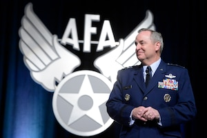 "Air Force Chief of Staff Gen. Mark A. Welsh III and Chief Master Sgt. of the Air Force James A. Cody deliver their keynote speeches as the opening of Air Force Association's Aerospace and Technology Exposition in Orlando, Fla., Feb. 21, 2013.  Welsh's ""State of the Air Force"" discussion highlighted Airmen and the impact the possible sequestration may have on them.  Cody talked about (U.S. Air Force photo/Scott M. Ash)"