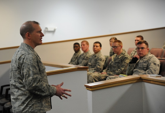 """Col. Robert Stanley, 341st Missile Wing commander, discusses leadership during the """"Continue to Rise: Arise as a Leader"""" Airman development seminar Feb. 12 in the conference room in Bldg. 3080. Stanley was one of several Airmen to speak during the half-day seminar. (U.S. Air Force photo/Staff Sgt. R.J. Biermann)"""
