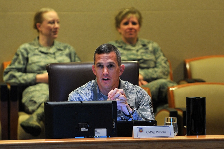 U.S. Air Force Chief Master Sgt. Richard Parsons, command chief master sergeant of Air Combat Command, delivers a welcome speech during the opener for the ACC Chief's Orientation held at the Dougherty conference center on Offutt Air Force Base, Neb., Jan. 28.  Parsons is the enlisted advisor to the commander and staff for the enlisted force stationed at 27 wings, 17 bases and at more than 200 operating locations around the world. (U.S. Air Force photo by Charles Haymond/Released)