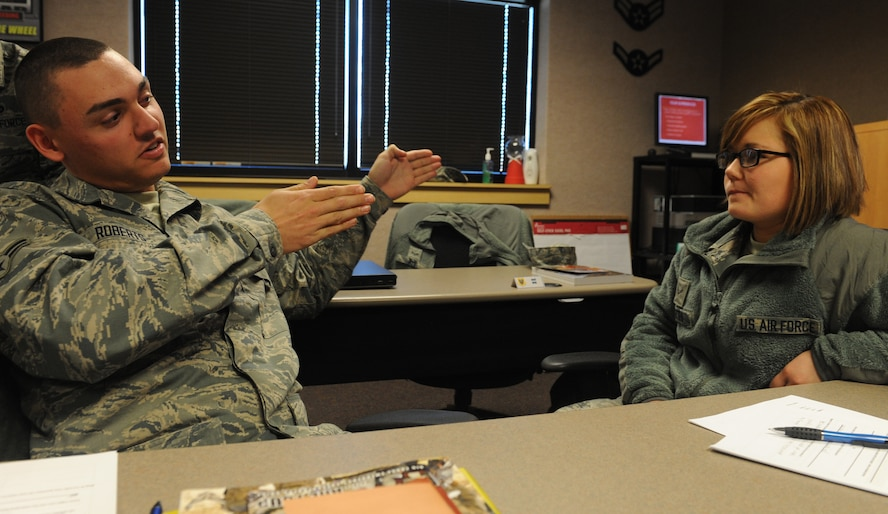 WHITEMAN AIR FORCE BASE, Mo. -- Airman 1st Class Matthew Roberts, 509th Maintenance Squadron egress systems apprentice, discusses his way of dealing with problems with Airman 1st Class Tanya Pettis, 509th Aircraft Maintenance Squadron aircraft armament systems technician, during the new comprehensive resilience training, Feb. 13. The MRT course was adapted from the University of Pennsylvania's Positive Psychology program, and is intended to create a positive work environment. (U.S Air Force photo/Airman 1st Class Bryan Crane) (Released)