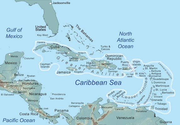 The Antilles is an archipelago or chain of islands, including several islands that are part of Puerto Rico and the U.S. Virgin Islands.