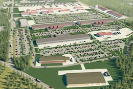 An artist's rendering shows a bird's eye view of the East Compound, which will house most battalion operations and supporting maintenance facilities.