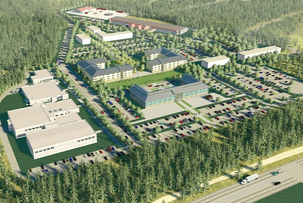 An artist's rendering depicts a bird's eye view of the West Compound, which houses most administrative, housing and personnel support facilities.