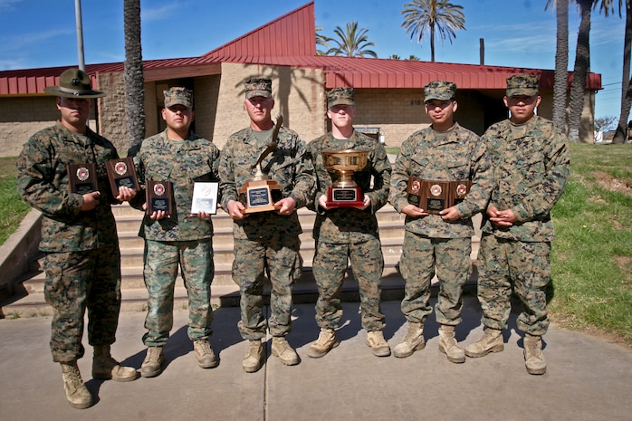 Marines with Weapon Field Training Battalion, display their awards earned from the 2013 Depot Competition in Arms at Edson Range aboard Marine Corps Base Camp Pendleton, Calif. Feb. 15. WFTBn. hosted the DCIAP intramural rifle and pistol matches in order to promote advanced marksmanship skills and identify potential members for the Marine Corps Recruit Depot shooting team to take part in the Western Division Matches.