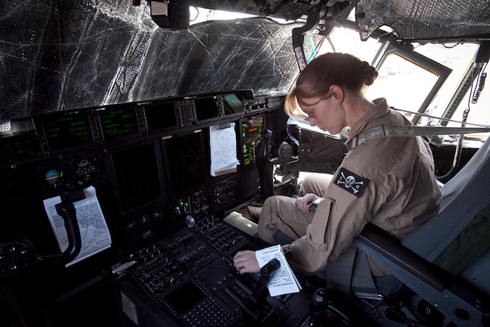 130209-M-BY384-002 CAMP LEMONNIER, DJIBOUITI (Feb. 9, 2013)  Major Angel Hooper, aircraft commander, VMGR-352, 15th Marine Expeditionary Unit, conducts a pre-flight inspection in the cockpit of a KC-130 Hercules before beginning an aerial refueling mission, Feb. 9.  The 15th MEU is deployed as part of the Peleliu Amphibious Ready Group as a U.S. Central Command theater reserve force, providing support for maritime security operations and theater security cooperation efforts in the U.S. 5th Fleet area of responsibility.