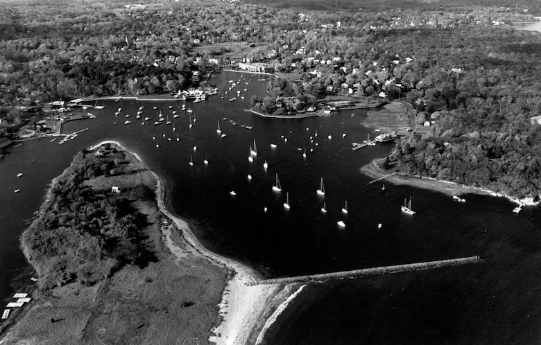 Aerial view of Cohasset River. Cohasset Harbor is located about ten miles south of Boston Harbor, MA Photo was taken Nov. 1987.