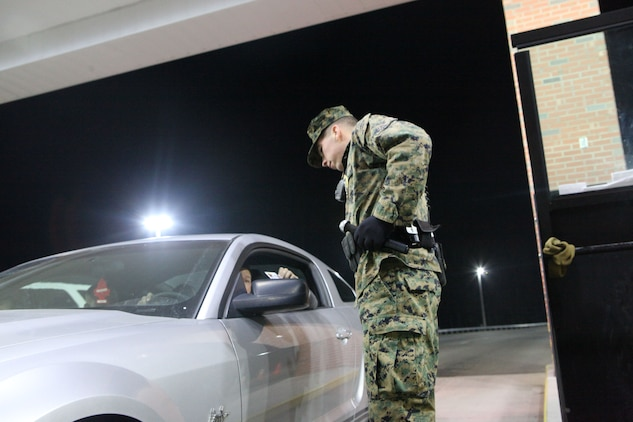 It was business as usual for most on a recent Friday night. Military police officers at the gates inspected identification cards of those entering Marine Corps Base Camp Lejeune, however on this night random vehicles were chosen to be searched in a recent base-wide effort to stop illegal narcotics and other contraband from entering the base.