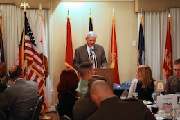 David L. Nydegger, president and CEO of the Oceanside Chamber of Commerce, makes opening comments during the 3rd annual Enlisted Recognition Dinner at the El Camino Country Club here Feb. 22.