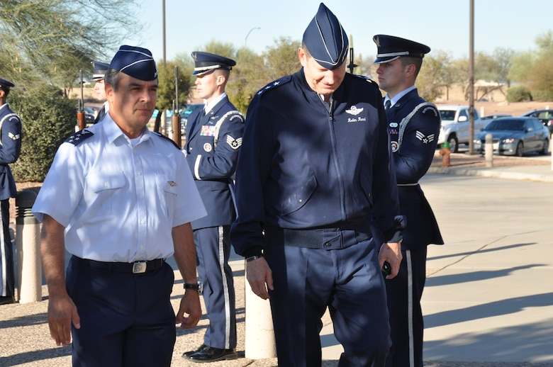 Gen. Jorge Rojas, Commander in Chief, Chilean Air Force, and Lt. Gen. Robin Rand, 12th Air Force (Air Forces Southern) commander, walk through an honor cordon at Davis-Monthan AFB, Ariz., Feb. 25. General Rojas is visiting AFSOUTH to discuss bilateral relations and building partnerships during the Latin American Interoperability Workshop, Feb. 25 – 28. (U.S. Air Force photo by Master Sgt. Kelly Ogden/Released).