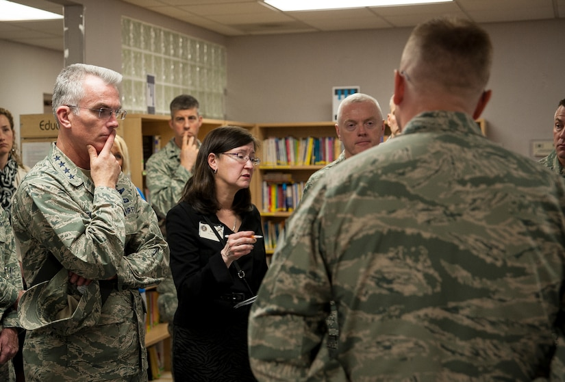 Ricki Selva, wife of Gen. Paul Selva, Air Mobility Command commander, discusses options for home-schooled children and their participation in local school sports during a briefing at the Airman and Family Readiness Center, Feb. 13, 2013, at Joint Base Charleston, S.C. The Selvas and Chief Master Sgt. Richard Kaiser, AMC command chief, arrived at JB Charleston, Feb. 13, 2013, for a three-day visit of JB Charleston. (U.S. Air Force photo/Senior Airman Dennis Sloan