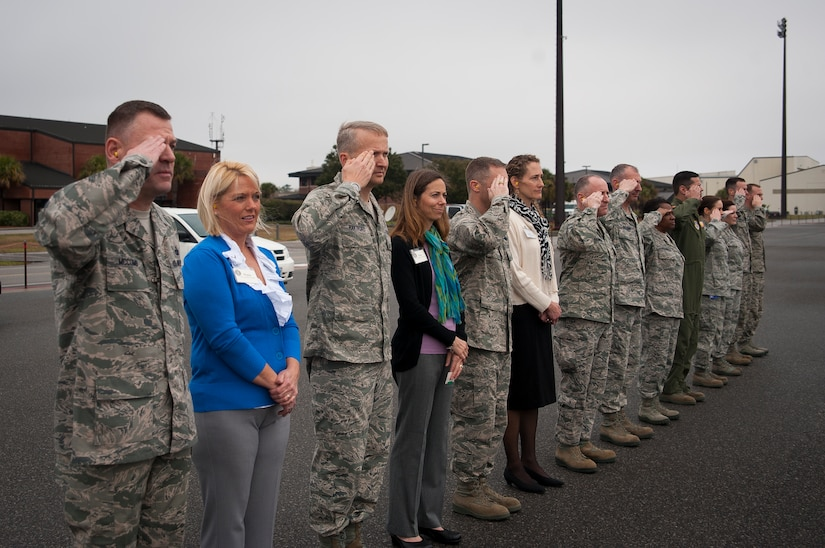 Joint Base Charleston leadership salute Gen. Paul Selva, Air Mobility Command commander, as his aircraft arrives Feb. 13, 2013, at JB Charleston – Air Base, S.C. The general's visit provided him the opportunity to see the Total Force Concept of JB Charleston in action. He met with active duty and Reserve Airmen on the flight line, as well as service members from every branch of the armed forces, working together throughout the Air Base and Weapons Station. (U.S. Air Force photo/Senior Airman Dennis Sloan)