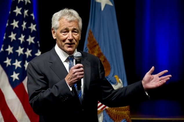 New Defense Secretary Chuck Hagel addresses Pentagon employees and service members during an all-hands call during his first day at the Pentagon, Feb. 27, 2013. Hagel earlier took the oath of office to serve as the 24th defense secretary.
