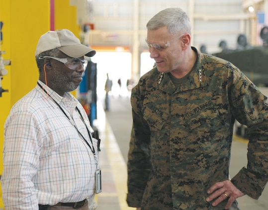 Gen. John M. Paxton Jr., assistant commandant of the Marine Corps, tours Marine Depot Maintenance Command during his visit to Marine Corps Logistics Command, Feb. 21. This is his first visit to MCLC since being appointed ACMC.