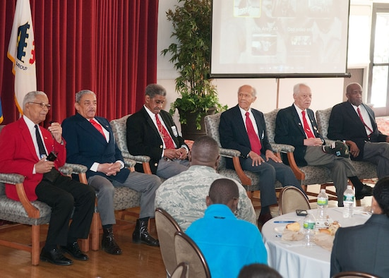 """HANSCOM AIR FORCE BASE, Mass. -- (left to right) Retired Col. Charles McGee, Howard Carter, William Vickers, Dr. Harold May, Harvey Sanford and Enoch Woodhouse answer questions from attendees at the African American Heritage Month luncheon at the Minuteman Commons on Feb. 21. McGee, an original Tuskegee Airman, served as the guest speaker during the """"At the Crossroads of Freedom and Equality: The Emancipation Proclamation and the March on Washington"""" luncheon. (U.S. Air Force photo by Rick Berry)"""