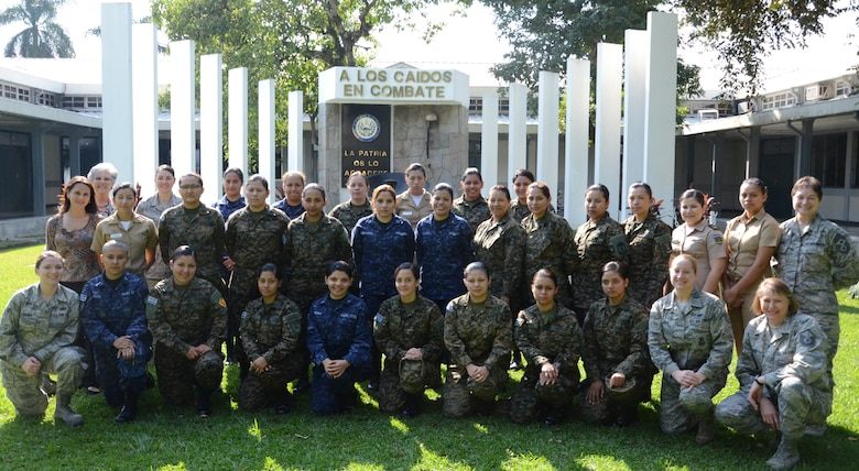 Female members from the various branches of the Salvadoran military stand flanked by female members of the New Hampshire Air National Guard as well as two interpreters standing in the back row, left-hand side. The group photo was taken in an open air courtyard at the Center for Military Education and Doctrine in San Salvador, El Salvador, where the female guardsmen and Salvadorans participated in a week long exchange of expertise in the security and law enforcement fields from February 4th through 8th, 2013. (National Guard photo by 1st Lt. Alec Vargus/released)