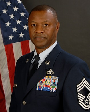 Portrait of Chief Master Sgt. Anthony Stovall from the 245th Air Traffic Control Squadron, March 16, 2013.