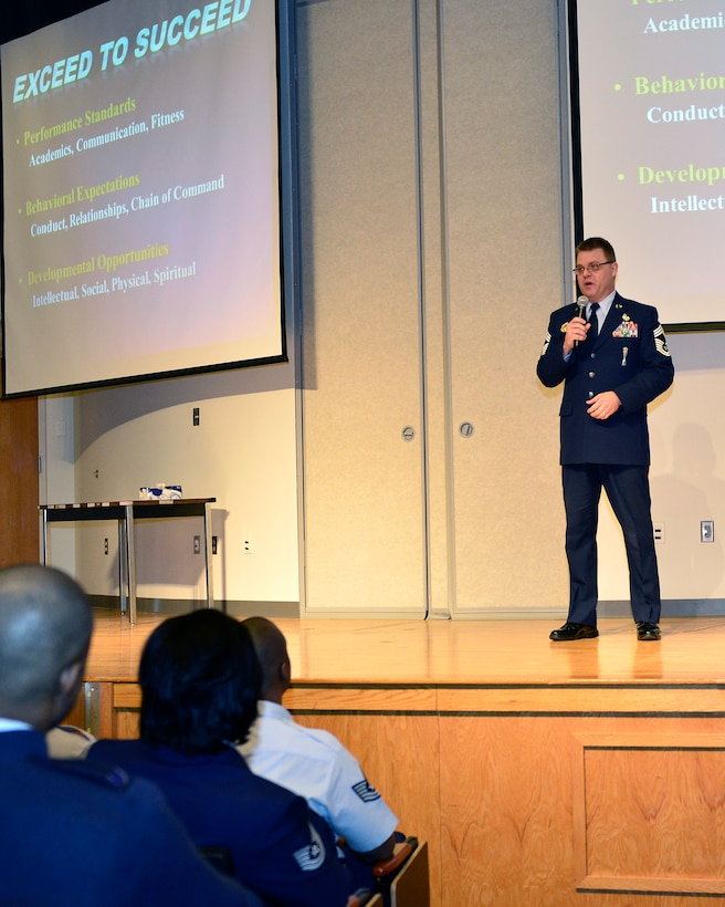 Chief Master Sgt. Donald E. Felch, commandant of the Paul H. Lankford Professional Military Education Center addresses 268 Air Force technical sergeants and international students attending Noncommissioned Officer Academy Feb. 26 at McGhee Tyson Air National Guard Base, Tenn. (National Guard photo by Master Sgt. Kurt Skoglund/Released)