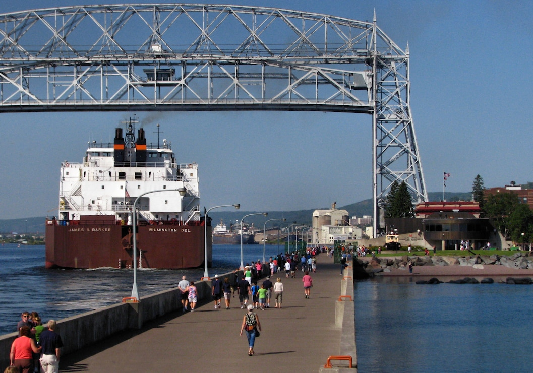 Ship arriving in Duluth