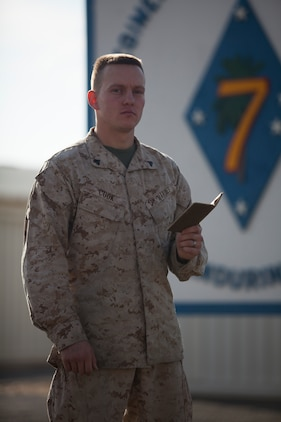 "Corporal Stephen Cook, a legal services specialist with Regimental Combat Team 7, is following his grandfather's footsteps as a Marine and is currently serving in Helmand province, Afghanistan. ""My grandfather had a lot of influence on me, and he was a Marine,"" said Cook, a 21-year-old native of Walla Walla, Wash. ""He was somebody I looked up to, and when I wanted to join a force, I joined the Marine Corps."""