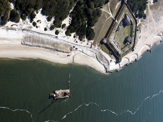 Sand was placed at Fort Clinch State Park following the dredging of Kings Bay Entrance Channel at Fernandina Harbor.