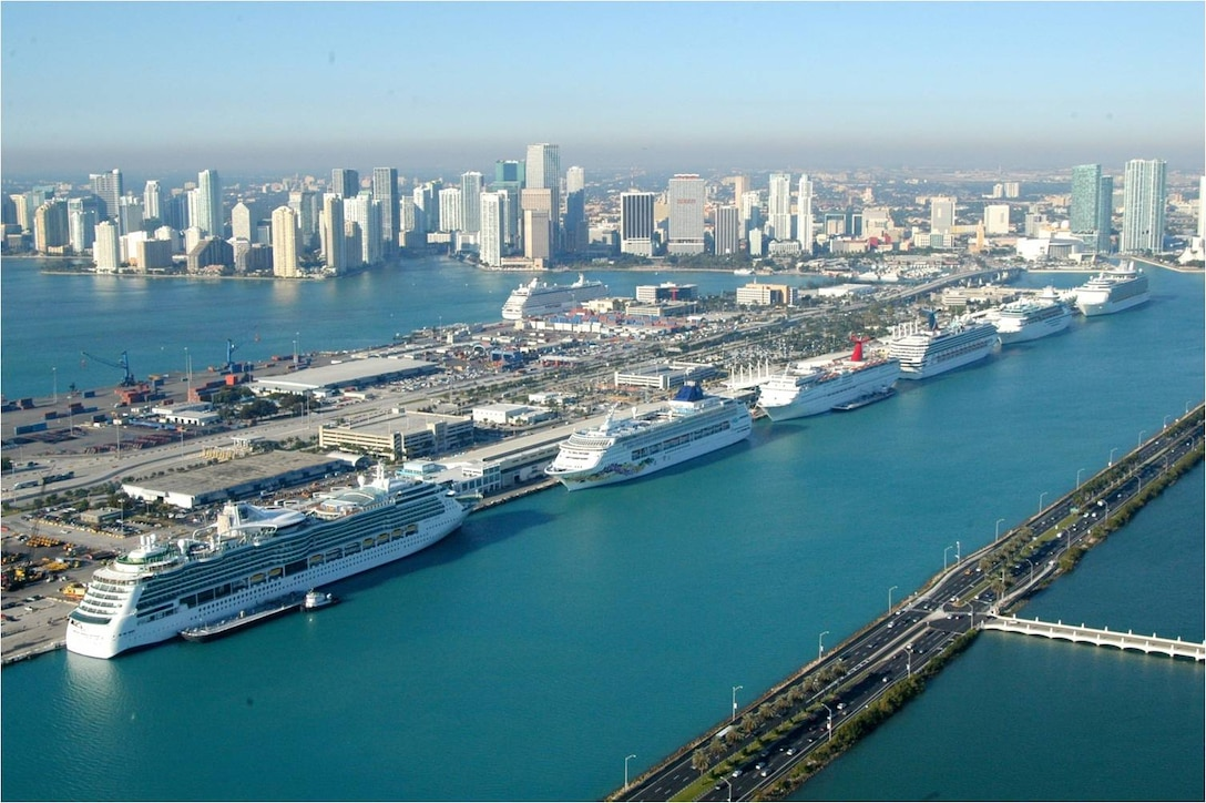 """The Port of Miami, one of two Jacksonville District projects included in the administration's """"We Can't Wait"""" initiative, welcomed four million cruise passengers last year and anticipates doubling its cargo traffic over the next decade.  A contract award for the project is anticipated in March 2013."""