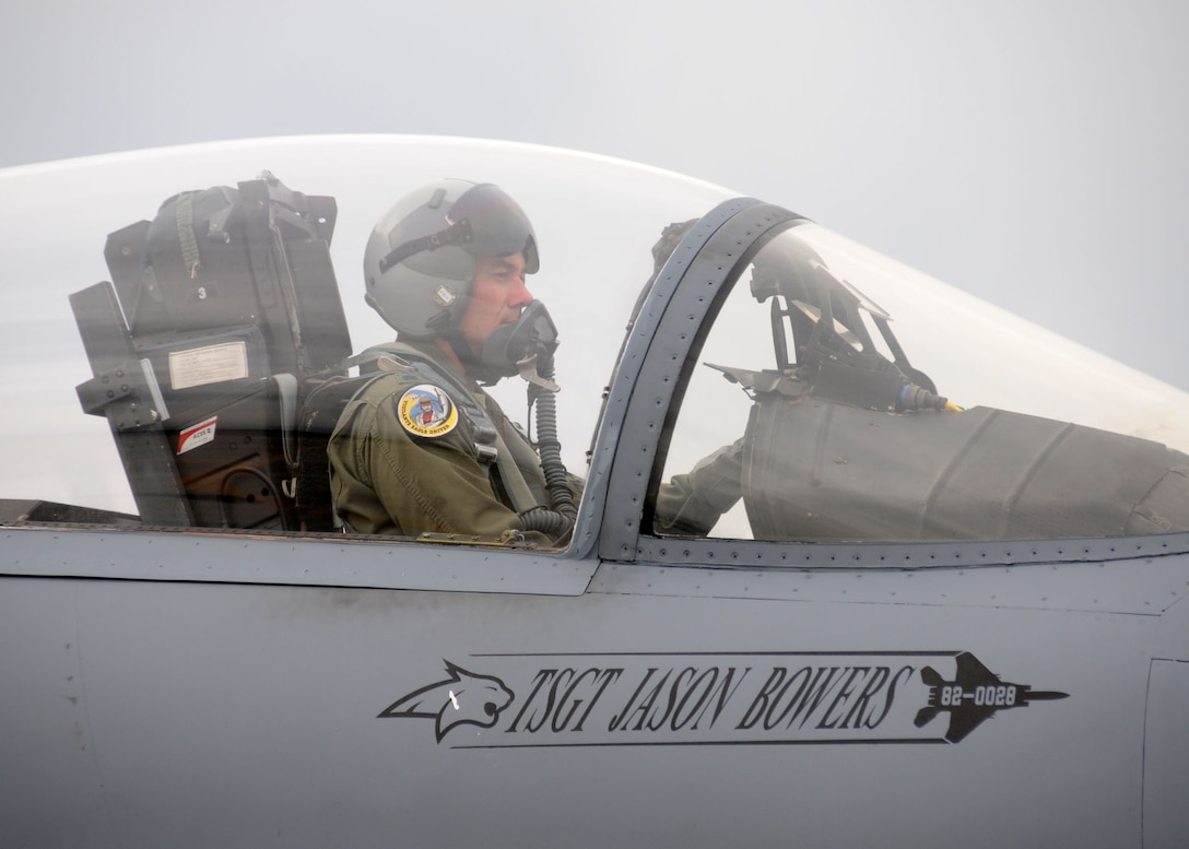 120th Fighter Wing Detachment 1 Commander Lt. Col. James Bong prepares his Montana Air National Guard F-15 Eagle for flight prior to a training mission flown from Joint Base Pearl Harbor-Hickam on Dec. 5, 2012.  National Guard photo by Senior Master Sgt. Eric Peterson.