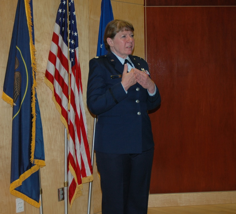 Lt. Col. Cecilia Nackowski spoke to an audience of family members and colleagues during her retirement ceremony at the Utah Air National Guard Base. Dec. 2. Nackowski formally retired after 35 years of military service. (U.S. Air Force photo by Capt. Wayne Lee)(RELEASED)