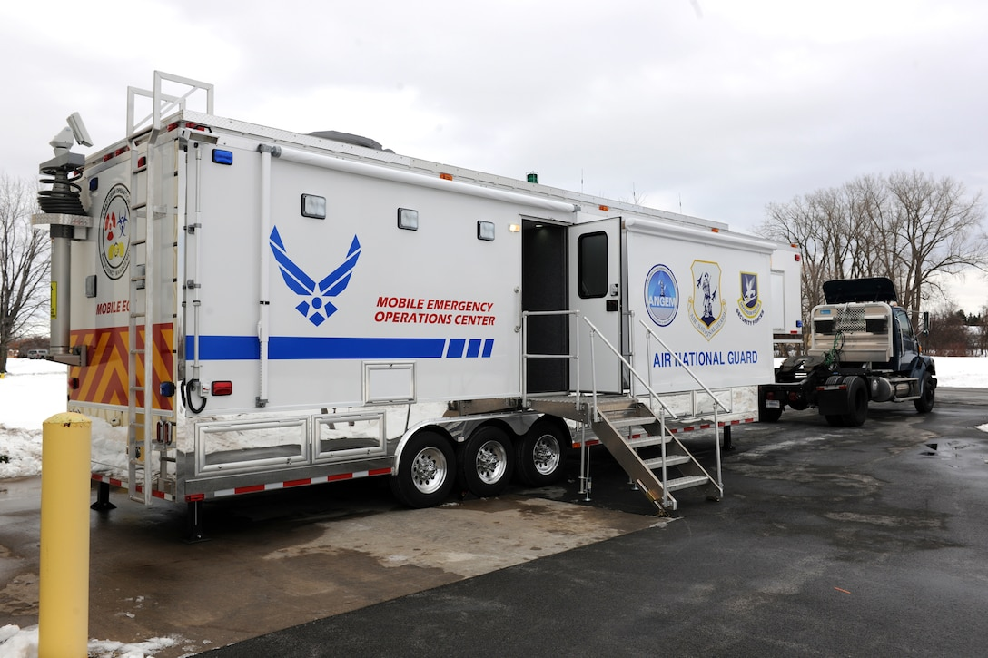 New York State Mobile Emergency Operations Center (MEOC) assigned to the 174th Civil Engineering Squadron being trained on at Hancock Field in Syracuse NY on 6 Jan 2013.  The MEOC was assigned to the unit to assist in emergency response missions such as natural disasters in the northeast and FEMA 2 region.  (New York Air National Guard Photo by Staff Sgt. Chris Ewsuk/Released)
