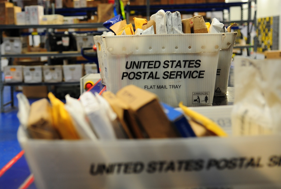 Mail trays sit full waiting to be sorted at the Northside Post Office on Ramstein Air Base, Germany, Dec. 18, 2012. The post office receives its highest customer traffic during the holiday season. (U.S. Air Force photo/Airman 1st Class Jordan Castelan)