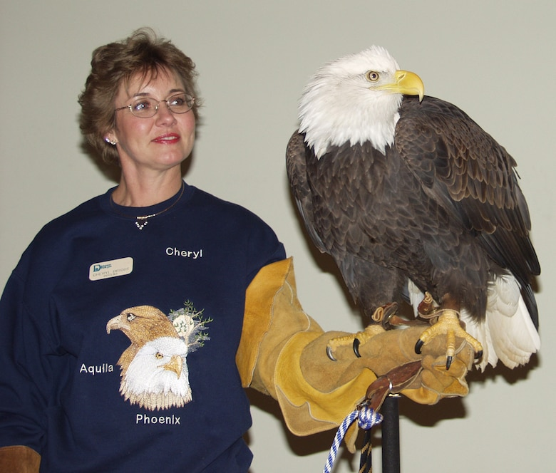 Cheryl Briggs, a docent at Dickerson Park Zoo, displays a Bald Eagle during the 2006 Eagle Day at Harry S. Truman Lake in Missouri. This year's event is scheduled for Jan. 9.