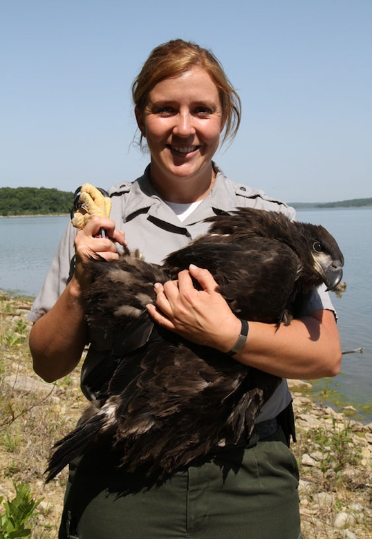 Samantha Walker, a U.S. Army Corps of Engineers park ranger at Clinton Lake near Lawrence, Kan., holds a bald eaglet after it is banded on May 14, 2012. The Corps participates in eagle banding with the U.S. Fish and Wildlife Service. A total of eight eaglets were banded from four nests around the lake. (U.S. Army Corps of Engineers photo by Michael A. Watkins)