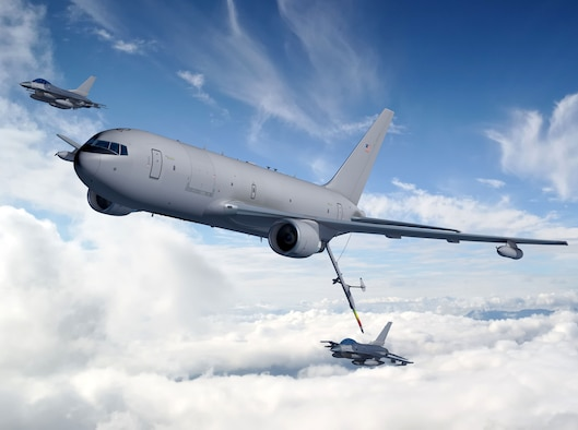 An artist's rendering of a KC-46A refueling F-16 Fighting Falcons (photo courtesy the Boeing Company)