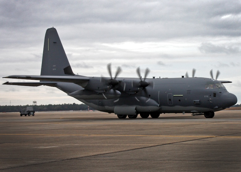The first MC-130J to be converted into Air Force Special Operations Command's newest variant of the gunship, the AC-130J Ghostrider, lands at Eglin Air Force Base, Fla., Jan. 3, 2013. Modifications to the airframe will be completed in ten months and will be a milestone in the recapitalization of the AC-130H/U fleet. (Courtesy photo)