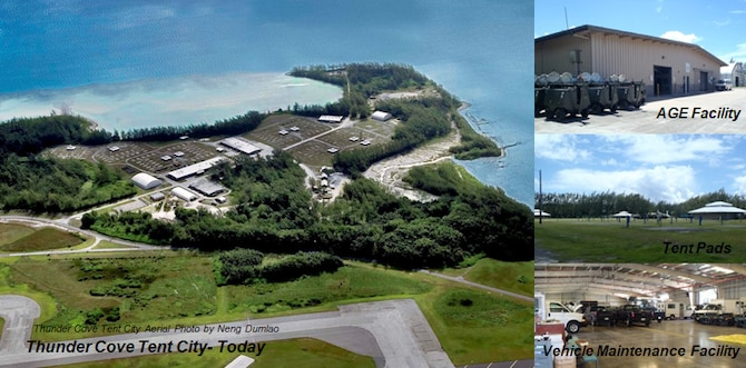 A combination of photos taken in 2012 and 2013 showing a Thunder Cove aerial view, aerospace ground equipment facility, tent pads and vehicle maintenance facility maintained by the Airmen of 36th Mission Support Group Detachment 1, Diego Garcia. The last group to live in Thunder Cove departed Diego Garcia in 2006; however, the work of maintaining the grounds and the WRM equipment continues. (Air Force Courtesy Photo)