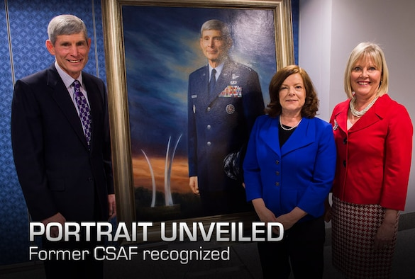 Retired Gen. Norton Schwartz, artist Michele Rushworth, and Mrs. Suzie Schwartz pose with the official portrait of the former Air Force chief of staff following its unveiling in the Pentagon, Washington, D.C., on Jan. 8, 2013. The portrait will be on display in the Pentagon's Arnold Corridor. (U.S. Air Force photo/Jim Varhegyi)