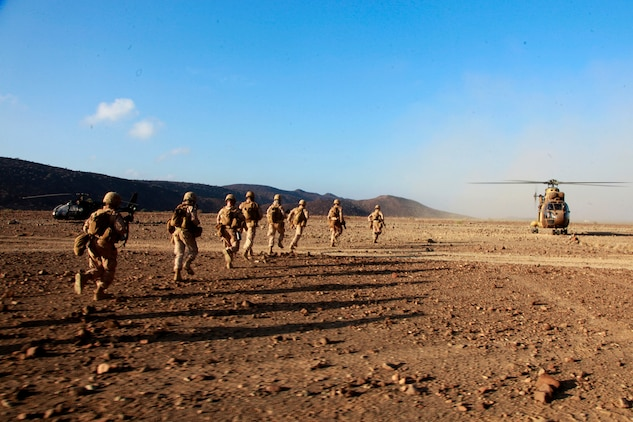 Exercise Amitie, which is French for friendship exercise, is a multinational training exercise designed to increase interoperability, enhance mutual capabilities and support a sustained presence in the region. During Amitie, elements from the 15th MEU participated in a three-day mounted patrol, land and water obstacle courses, aviation-related evolutions and joint planning. The training was led by the French 5th Marine Regiment and included elements from the 15th Marine Expeditionary Unit, French Foreign Legion, U.S. Army, U.S. Air Force and Djiboutian military. The 15th MEU is deployed as part of the Peleliu Amphibious Ready Group as a U.S. Central Command theater reserve force, providing support for maritime security operations and theater security cooperation efforts in the U.S. 5th Fleet area of responsibility. (U.S. Marine Corps photo by Cpl. John Robbart III)