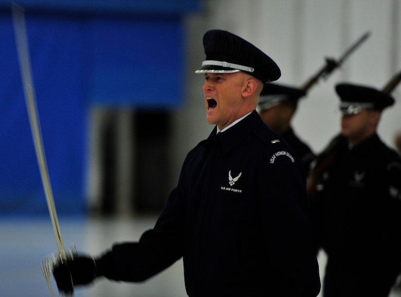 1st Lt. Michael Lemorie, U.S. Air Force Honor Guard Drill Team, flight commander rehearses for the 57th Presidential Inaugural Parade on Joint Base Andrews, Md. More than 350 members of Joint Base Andrews will be representing the Air Force during the Inauguration. (U.S. Air Force photo/ Airman 1st Class Erin O'Shea)