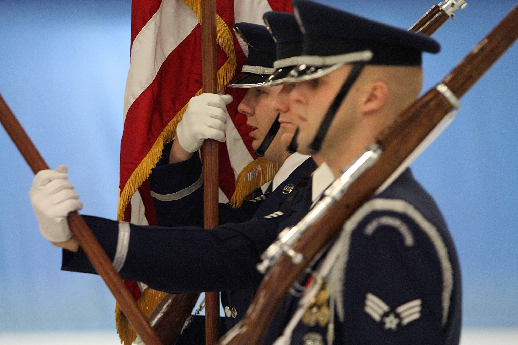 Senior Airman Anthony Wagner calls commands during a dress rehearsal for the Inaugural Parade at Joint Base Andrews, Md., Jan. 11, 2013. Airman Wagner is the the NCO in charge of the Air Force Honor Guard color team. (DOD photo/Claudette Roulo)