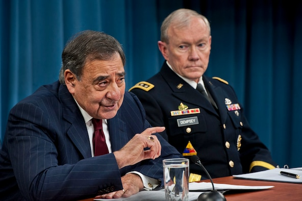 Defense Secretary Leon E. Panetta and Army Gen. Martin E. Dempsey, chairman of the Joint Chiefs of Staff, brief the press at the Pentagon, Jan. 10, 2013. Panetta and Dempsey discussed the effects of sequestration if it were to take effect at the end of March. DOD photo by Erin Kirk-Cuomo