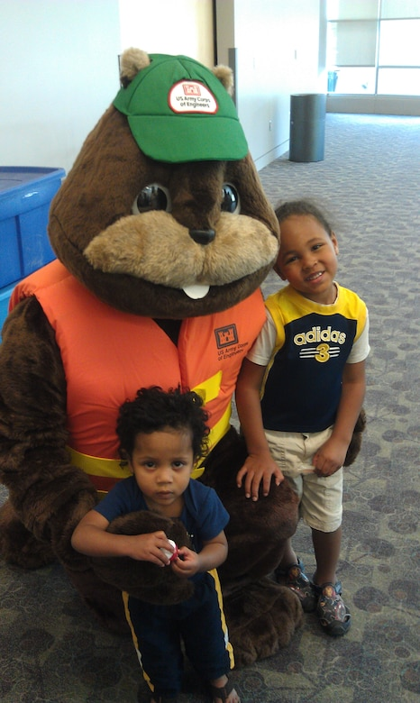 Buddy the Beaver meets some children attending the SAFE Event, held June 2, 2012 at the Omaha Kroc Center. SAFE stands for Safety Awareness Fitness & Education