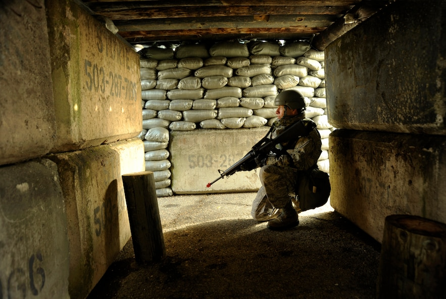 Oregon Air National Guard Staff Sgt. Ramone Lopez, 142nd Fighter Wing Civil Engineers Squadron provides guard duty in a bunker during a Combined Unit Exercise at the Portland Air National Guard Base, Portland, Ore., Jan. 13, 2013. (U.S. Air Force photo by Tech. Sgt. John Hughel, 142nd Fighter Wing Public Affairs)