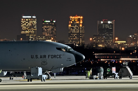 BIRMINGHAM, Ala. -- Members of the 117th Maintenance Group prepare a KC-135 for a mission during the 24 hour surge exercise on Nov.15, 2012. The purpose of this exercise is to demonstrate conventional aircraft generation and employment from the home base location without the aid of any outside resources. The surge generated 15 sorties, 48.7 flying hours, 156,000 gallons of fuel and one deployed maintenance recovery team who assisted another base. (U.S. Air Force photo by Master Sgt. Ken Johnson)