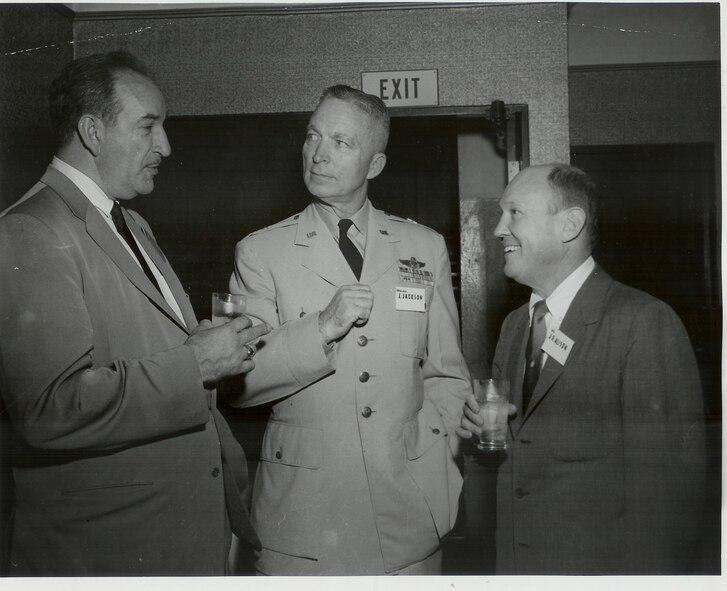 Retired Lieutenant Colonel Charles Russhon (left), military advisor to the James Bond films in the '60s and '70s and one of the original Air Commandos, chats with Major General (ret) Johnny Alison, one of the fathers of Air Force special operations, and Brigadier General J. Jackson. (Photo courtesy of Christian Russhon)